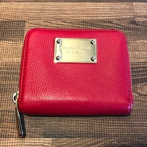 MICHAEL KORS Small Red Pebbled Leather Wallet